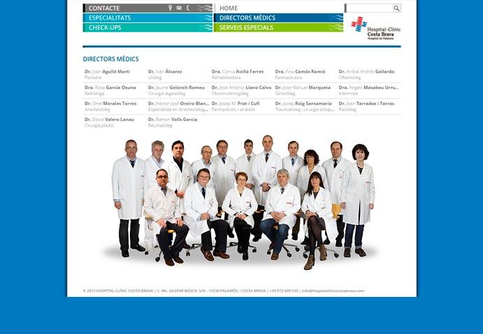 Pantalla dels directors mèdics de la pàgina web de l'Hospital-Clínic Costa Brava de Palamós