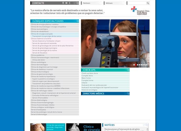Pantalla d'especialitats de la pàgina web de l'Hospital-Clínic Costa Brava de Palamós