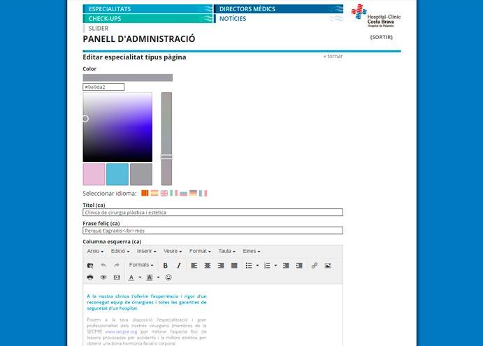 Pantalla del gestor de continguts de la pàgina web de l'Hospital-Clínic Costa Brava de Palamós