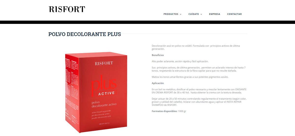 Lloc web Risfort, producte