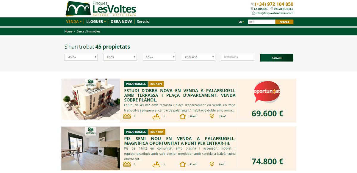 Lloc web Finques Les Voltes, llistat d'immobles