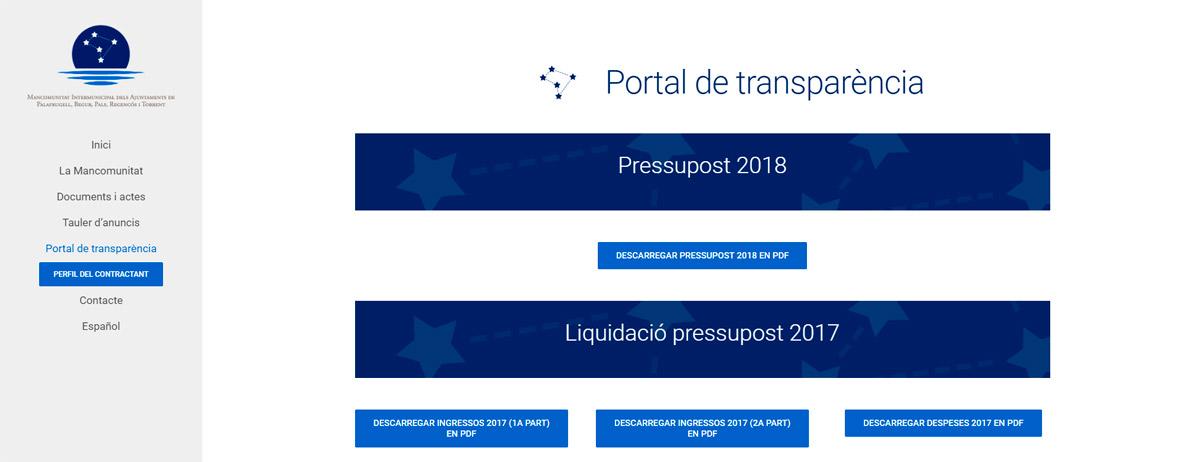 Lloc web Mancomunitat d'aigües, portal de transparència